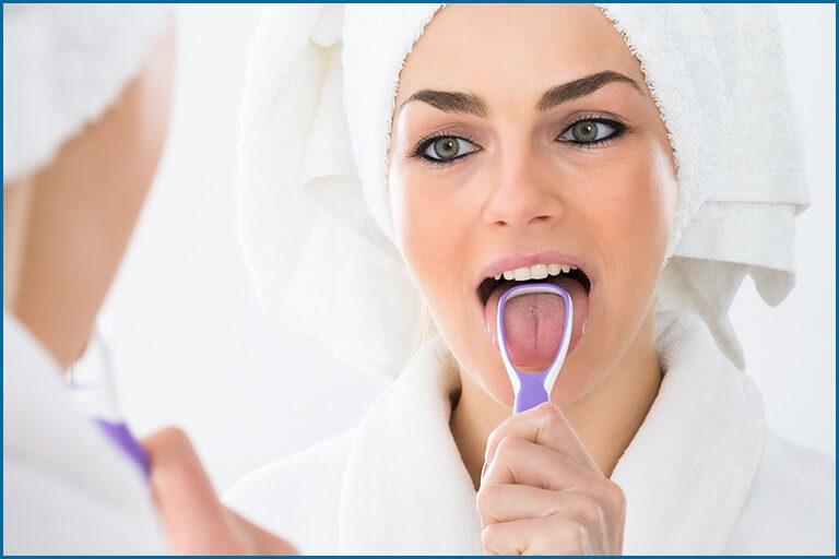 lady scrapping tongue